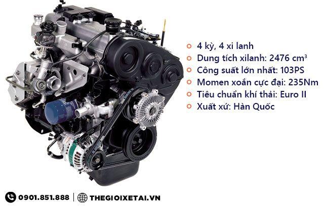 Động cơ Hyundai D4BH xe ben Veam VB350 3.5 tấn
